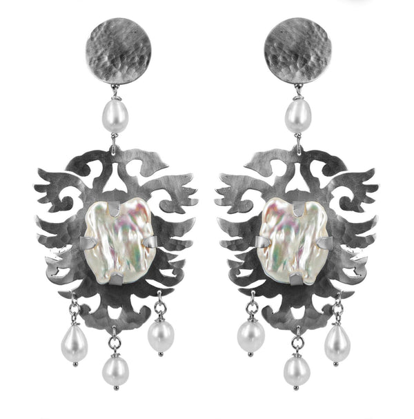 EARRINGS CRESTS CRYSTAL ROCK MADREPEARLS WHITE BRONZE