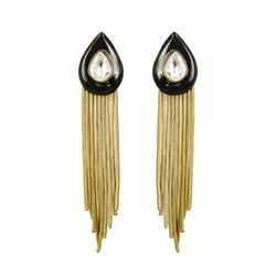 EARRINGS DROPS BLACK ENAMEL & DIAMOND GOLD