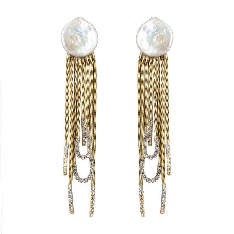 EARRINGS JELLYFISH PEARLS GOLD