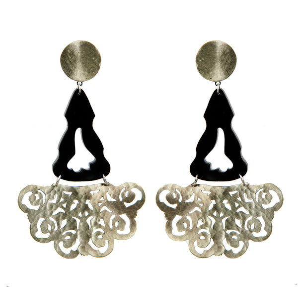 EARRINGS SPANISH WHITE BRONZE & PLEXI