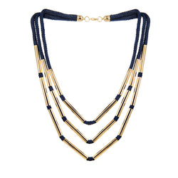 NECKLACE DONG CYLINDES BLUE SILK GOLD BRONZE