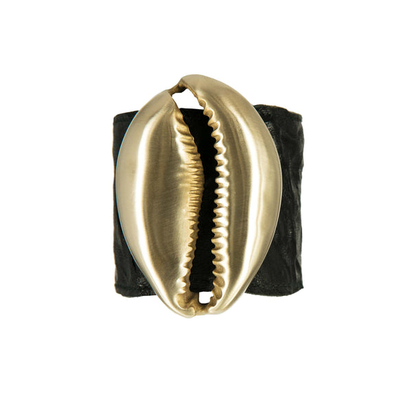 BRACELET MINI NAUTILUS BLACK LEATHER & GOLD BRONZE