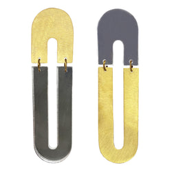 "EARRINGS GOLD BRONZE PLEXI ""U"" MIRROR"