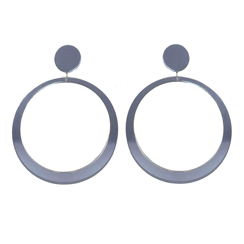 EARRINGS MAXI HOOPS MIRROR GRIGIO