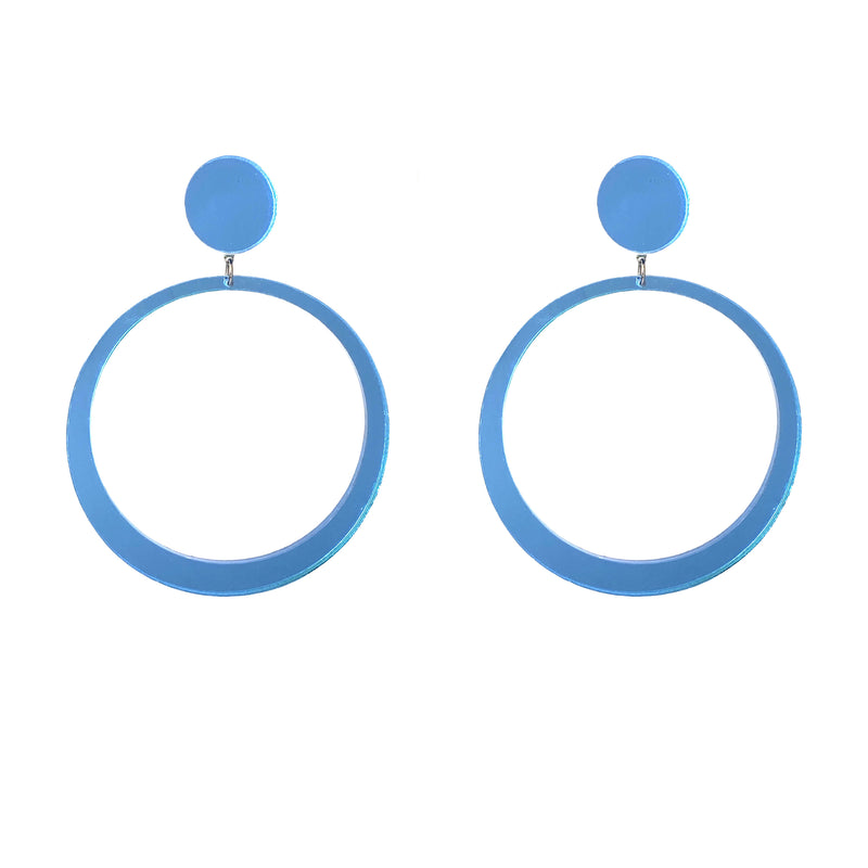 EARRINGS MINI HOOPS MIRROR BLUE