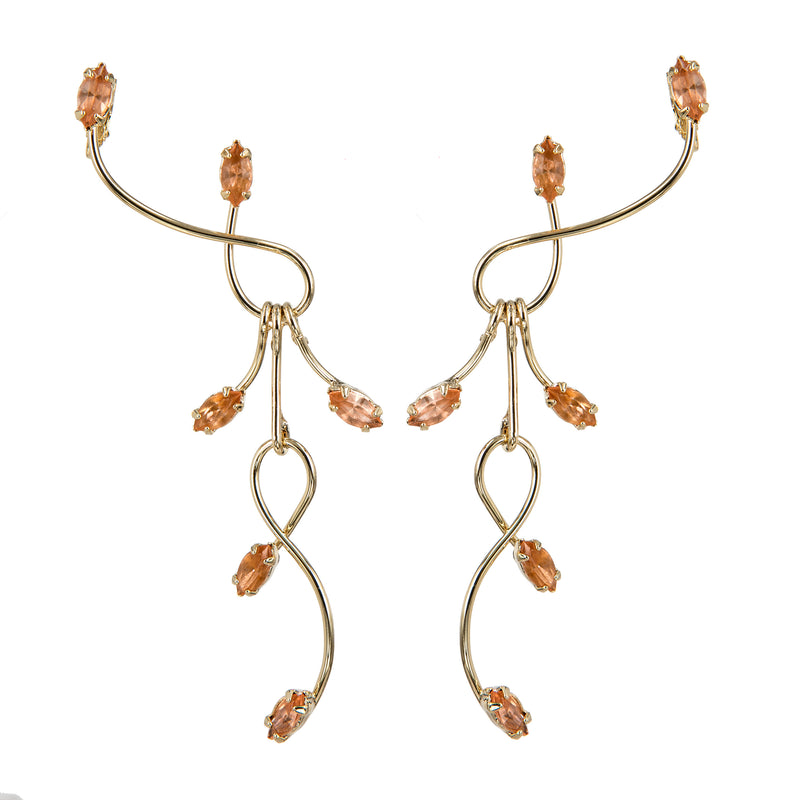 EARRINGS BRANCHES TOPAZ GOLD