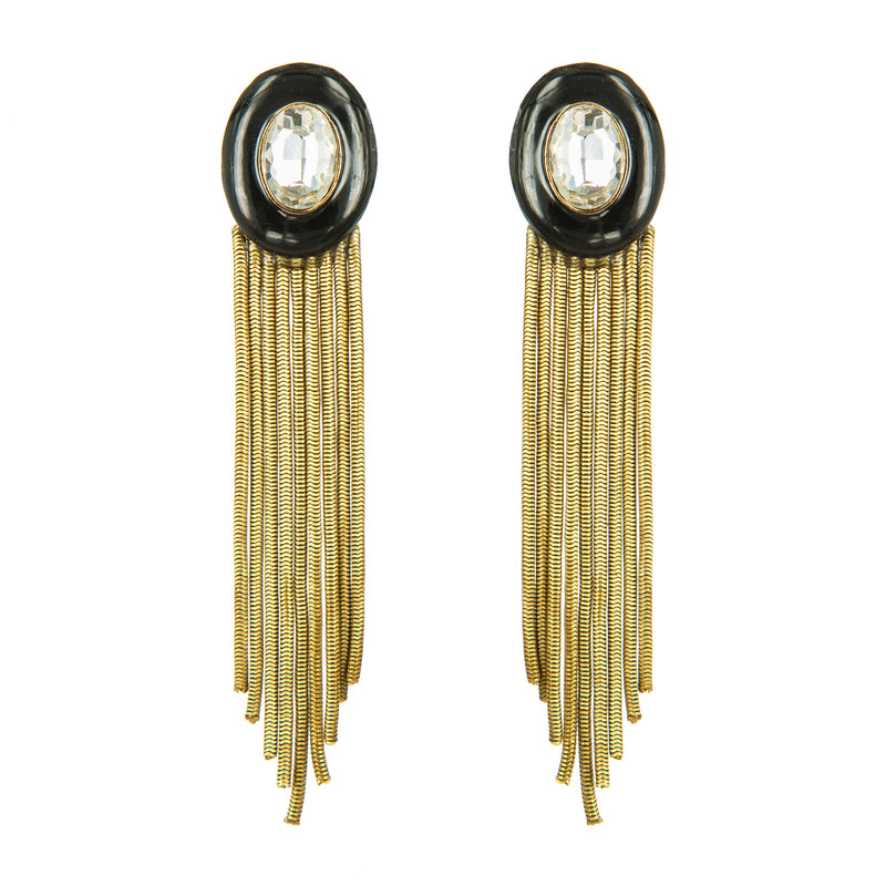 EARRINGS OVALS BLACK ENAMEL & DIAMOND GOLD