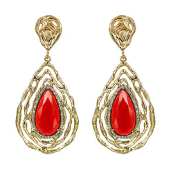 EARRINGS TEARDROPS RUBY & GOLD BRONZE