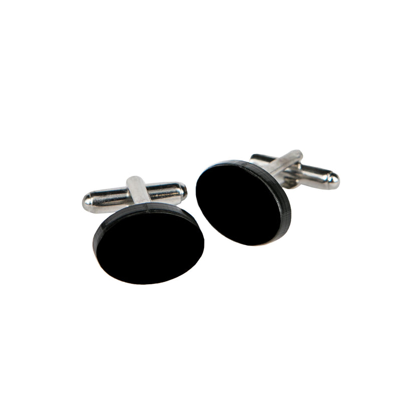 CUFFLINKS OVAL BLACK PLEXI