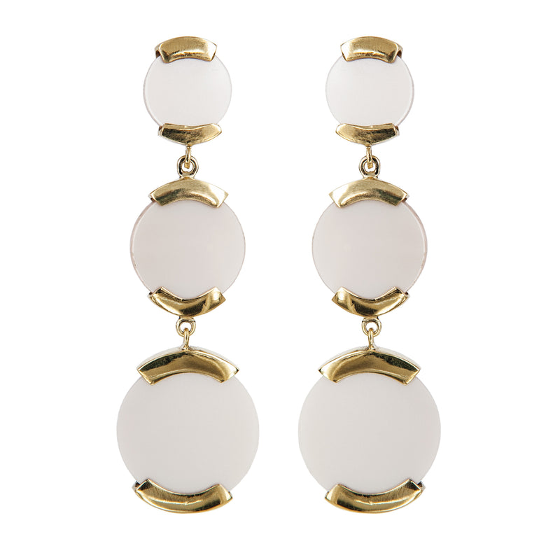 EARRINGS 3 DISCS PLEXI PEARL