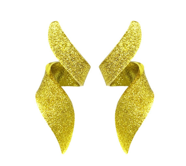 EARRINGS GOLD GLITTER PLEXI MINI CURLY