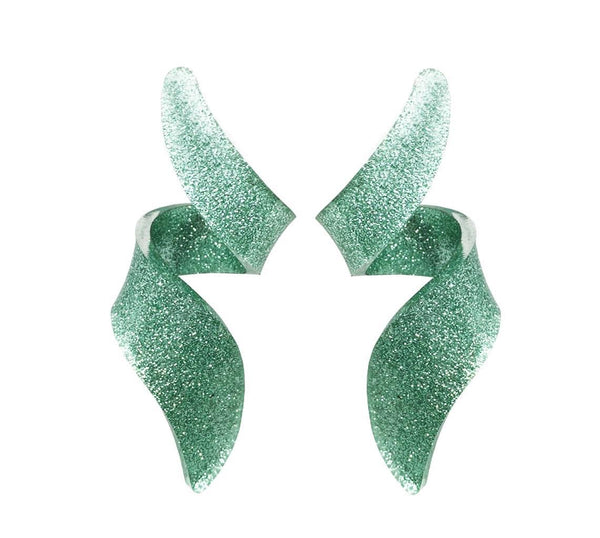 EARRINGS GREEN GLITTER PLEXI MINI CURLY