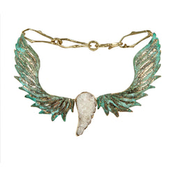 NECKLACE WINGS GOLD BRONZE&  PATINA