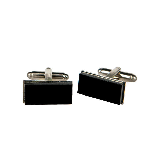 CUFFLINKS RECTANGULAR BLACK PLEXI, SETTING