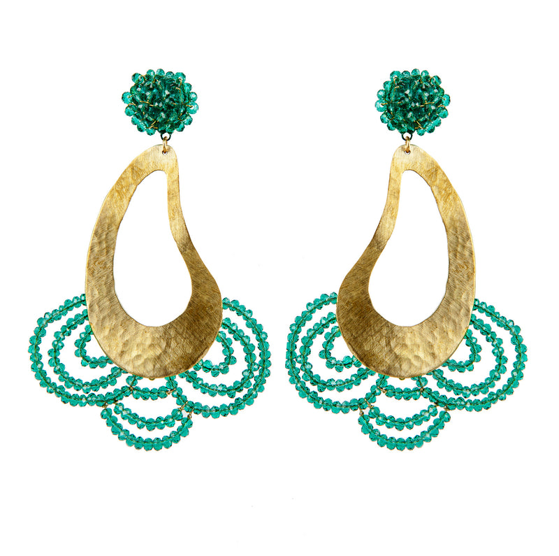 EARRINGS MENINAS GREEN CARAIBIAN ZIRCONS