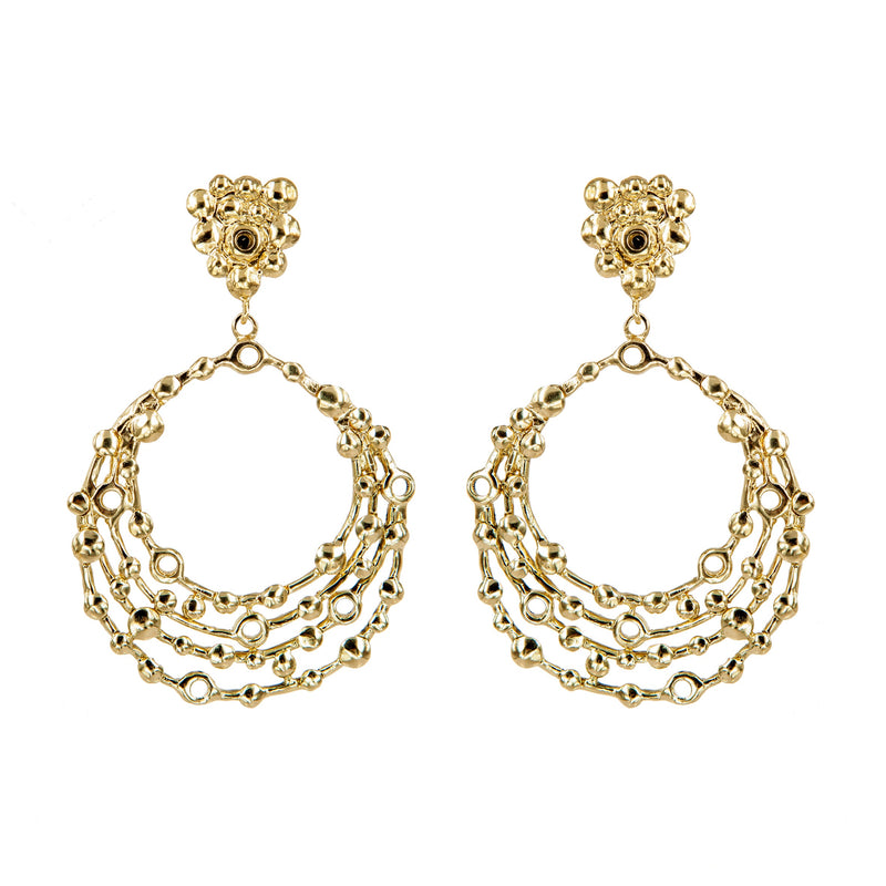 EARRINGS ASTOROIDS GOLD BRONZE