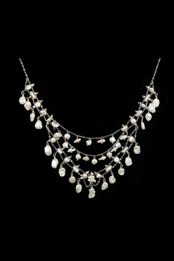 NECKLACE DIADEMA WHITE BRONZE & KEISHI PEARLS