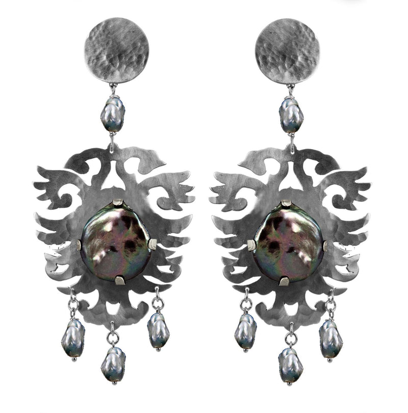 EARRINGS CRESTS GREY WHITE  BRONZE