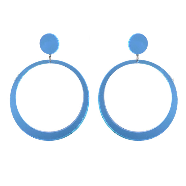 EARRINGS MAXI HOPES BLUE MIRROR
