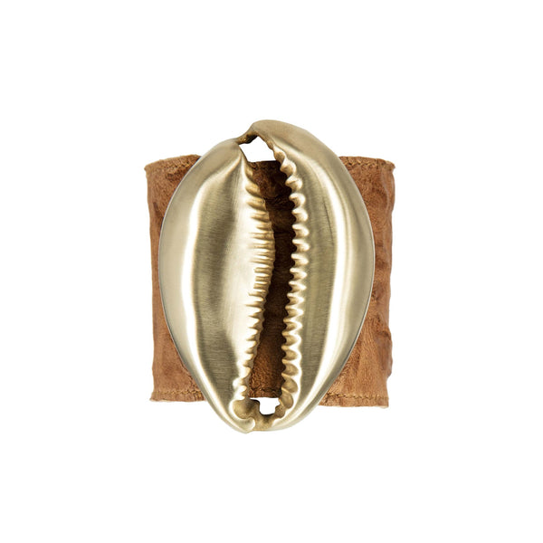 BRACELET MINI NAUTILUS CARAMEL LEATHER & GOLD BRONZE