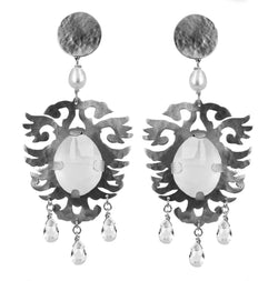 EARRINGS CRESTS CRYSTAL ROCK WHITE BRONZE