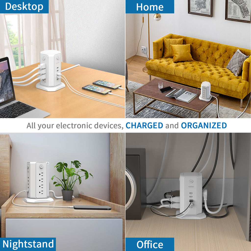 More organization of all the cords | NTONPOWER Power Strip