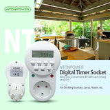 NTONPOWER Smart Power Socket EU Plug Digital Timer Switch Energy Saving Adjustable Programmable Setting of Clock/ On/ Off Time