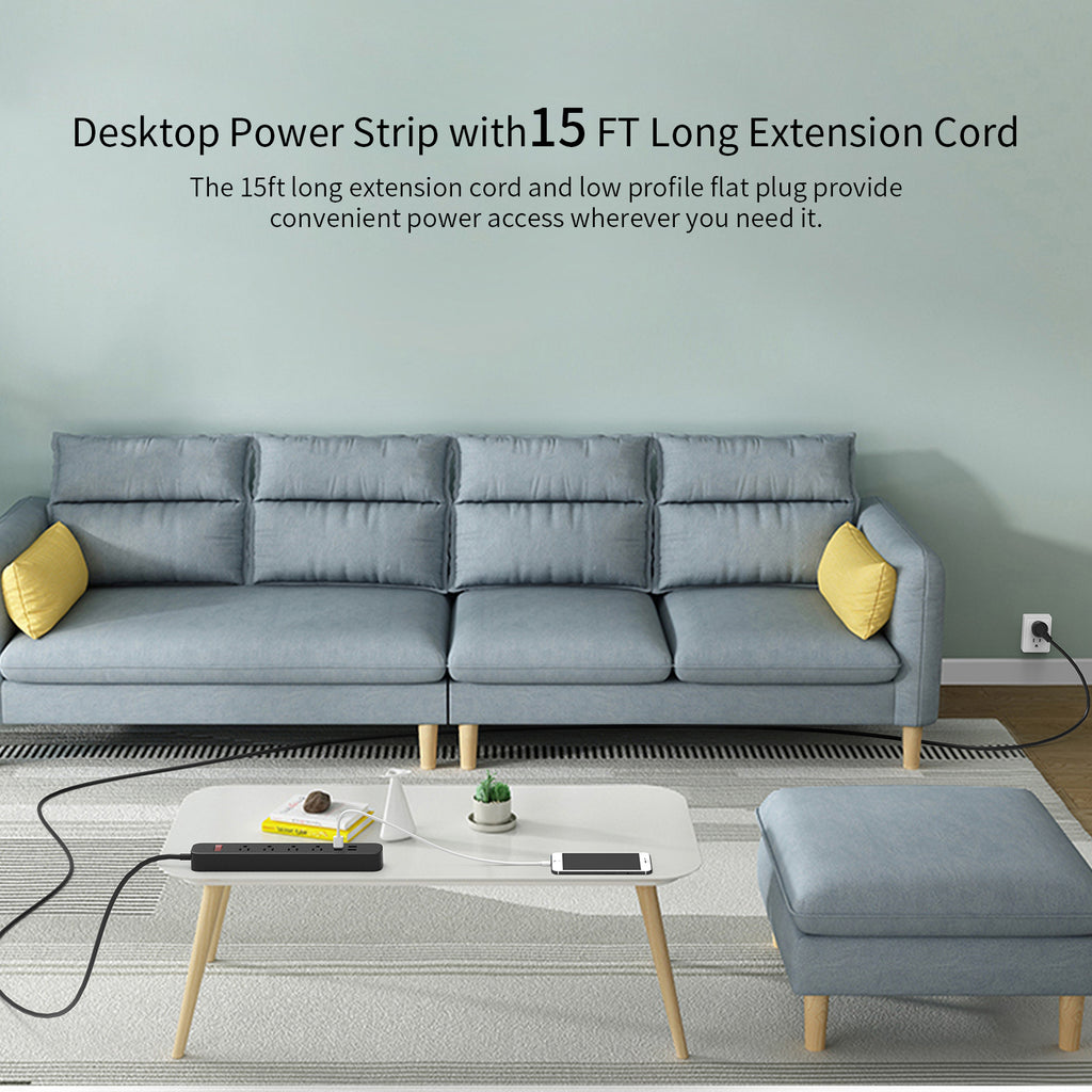 Flat Plug Power Strip with USB, 4 Outlets 4 USB, Overload Protection -10ft/15ft long cord