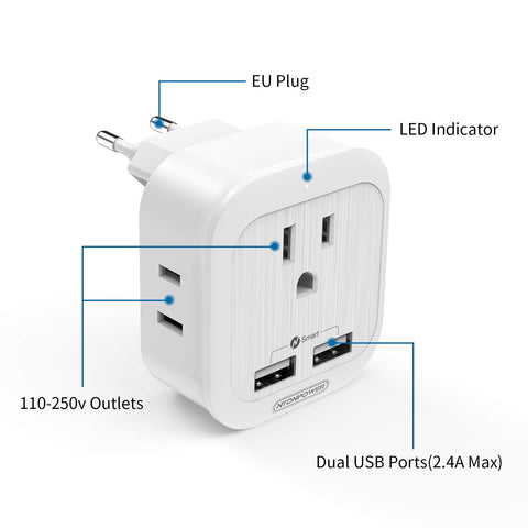 European Travel Plug Adapter - NTONPOWER US to Europe International Travel Plug, 4 in 1 Plug Type C Adapter with 2 Outlets 2 USB Ports for Italy, Germany, France, Greece etc