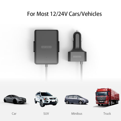 Free Gift 5 Ports USB  QC3.0 Car Charger with 1.8m Extension Cable with Detachable Clip For Mobile Phone Tablet GPS Car-Charger