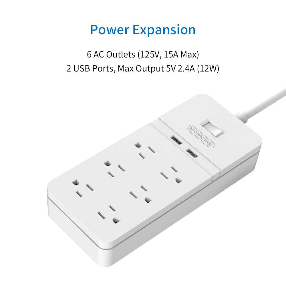 6 outlet 2 USB Power Strip with Cable Management Box Sets