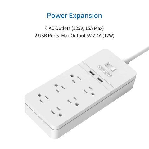 Surge Protector Power Strip with Cable Management Box, 6 Outlets and 2 USB Ports with Switch Control, Flat Plug, 5ft Heavy-Duty Extension Cord, Cord Organizer Box for Home and Office - White