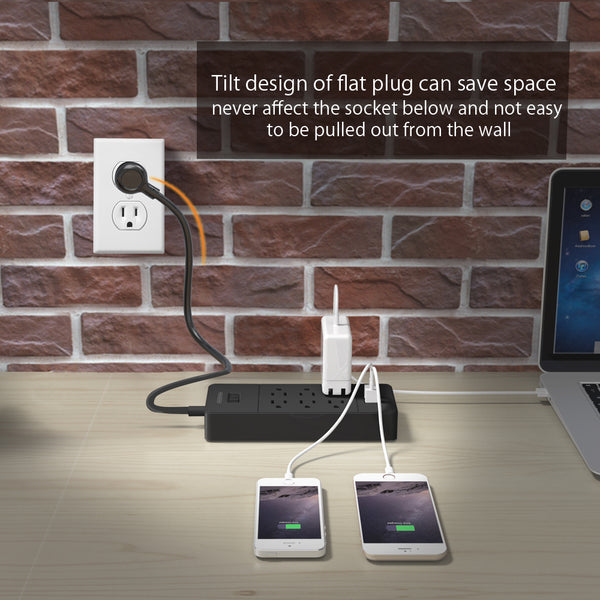 Power Strip USB Charger with Surge Protection 6AC+8AC+12AC [Larrge Capacity][US/CA]