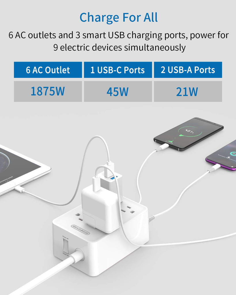 USB-C Power Strip with Power Delivery  PD 45W quick charger