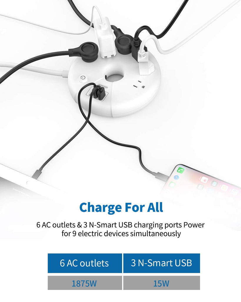 Dount Power Strip with 6 outlets 3 USB