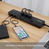 Surge Protector Power Strip with USB, NTONPOWER 4 Outlets 5 USB Desktop Charging Station, Individual Switch Controlled, Flat Plug, Circuit Breaker, 5ft Heavey Duty Extension Cord - Black