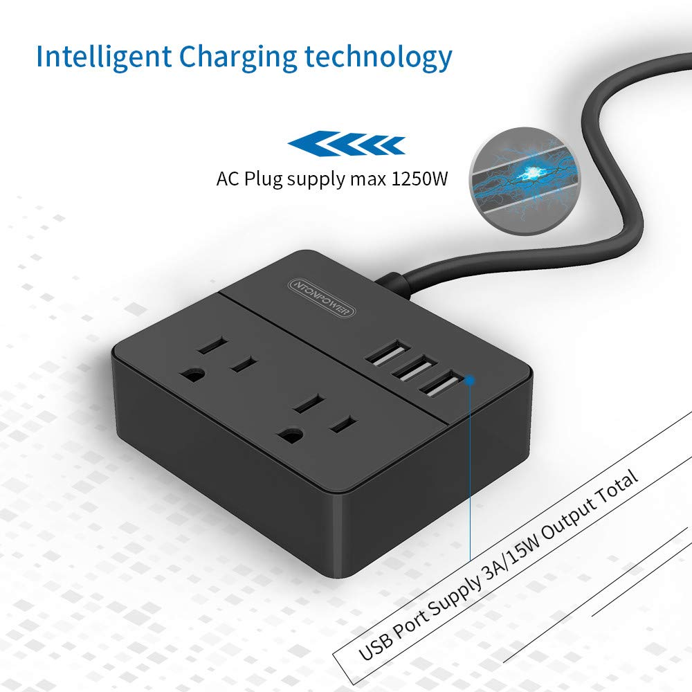 Small Travel Power Strip 2 Outlets 3 USB
