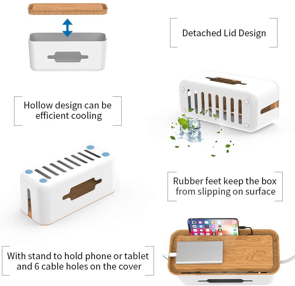 Wood Grain Cable Management Box Cord Organizer for Power Strip