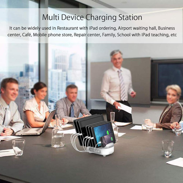 Charging Station for Multiple Devices - NTONPOWER Tablet Phone Charging Station Organizer Stand 7-Port USB Charging Dock (Total 70W/14A) for Apple Products iPad iPhone iPhone X Android Kindle Fire(Wholesale Power Strip)