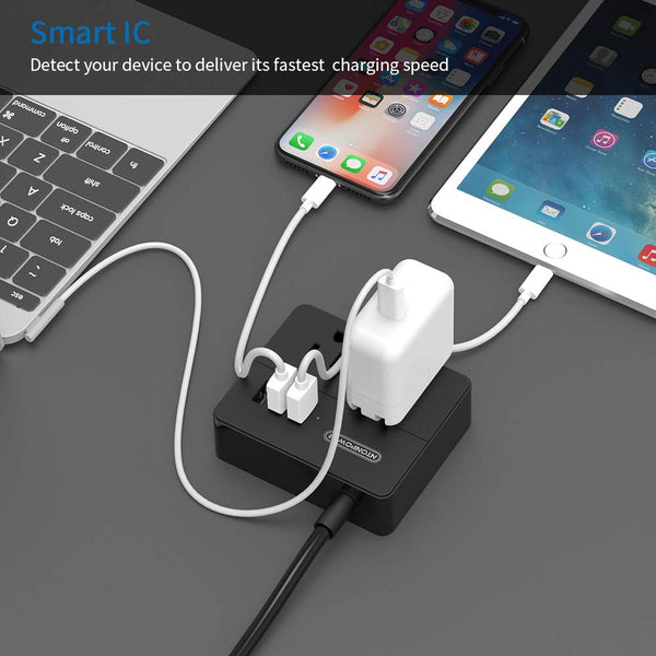 NTONPOWER Travel Power Strip 2 Outlets 3 USB Charging Ports Small Power Station with 3.3ft Extension Cord for Smartphone Tablets Cruise Hotel Office Bedside Table