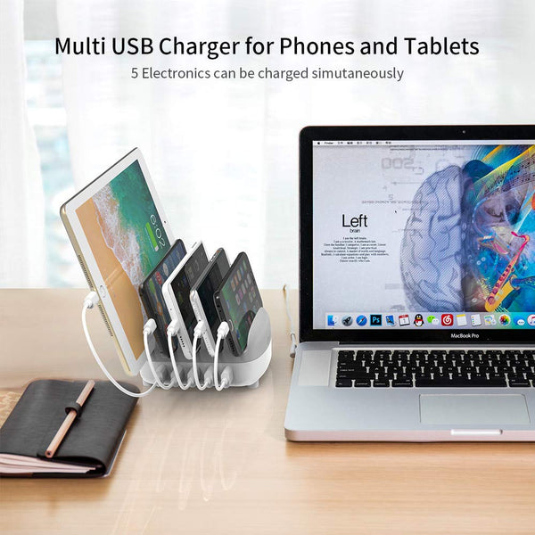 NTONPOWER Smartphone Charging Station for Multiple Devices 5 USB Ports Dock & Organizer for Gathering/Party/Music Studio/School and More