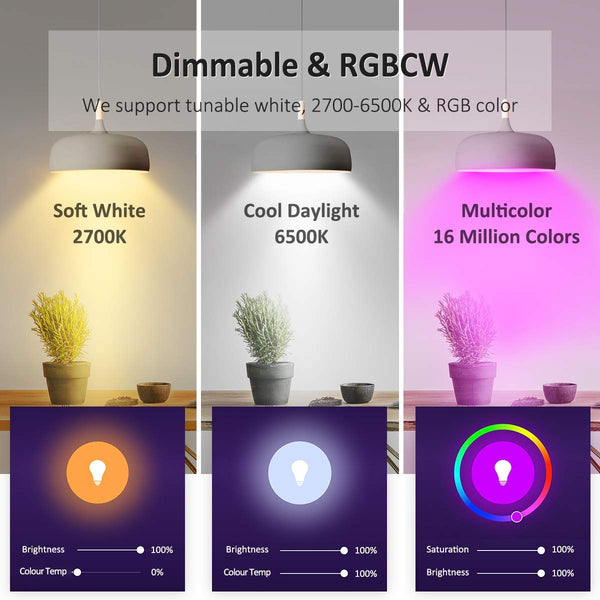 Smart Light Bulb - NTONPOWER WiFi Smart Bulb with Multiple Colors, 7W, Works with Amazon Alexa, Google Assistant and IFTTT, No Hub Required, 60W Equivalent, Dimmable LED Light Bulb, E26, 600 Lumens  (Wholesale blub)