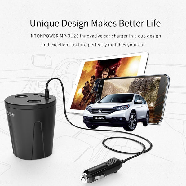 Free Gift-USB Car Charger Cigarette Lighter Adapter Quick Charger for Smartphone/Tablet Multi-function Cup Docking