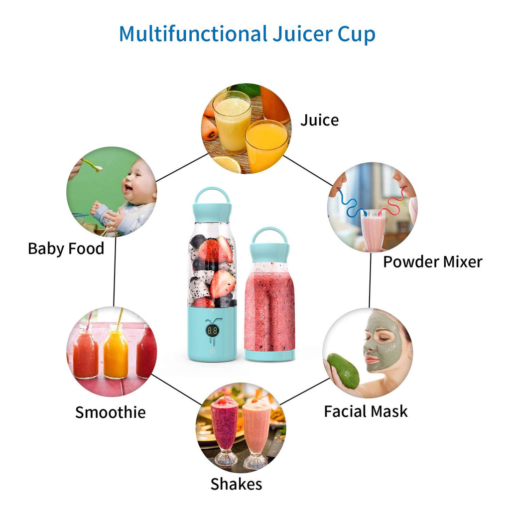 Free Gift Portable Smoothie Blender - [USA ONLY] Personal Blender Juicer Cup with USB Rechargeable, 450ML Single Serve Fruit Mixer with Stainless Steel 6-Blade, Multifunctional Small Travel Blender with 4000mAh High Capacity Batteries 的副本