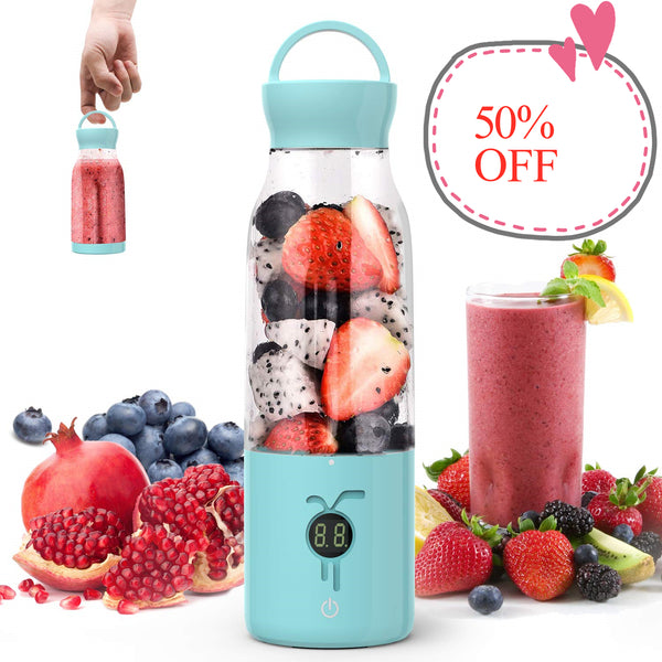 50% OFF Portable Smoothie Blender - [USA ONLY] Personal Blender Juicer Cup with USB Rechargeable, 450ML Single Serve Fruit Mixer with Stainless Steel 6-Blade, Multifunctional Small Travel Blender with 4000mAh High Capacity Batteries