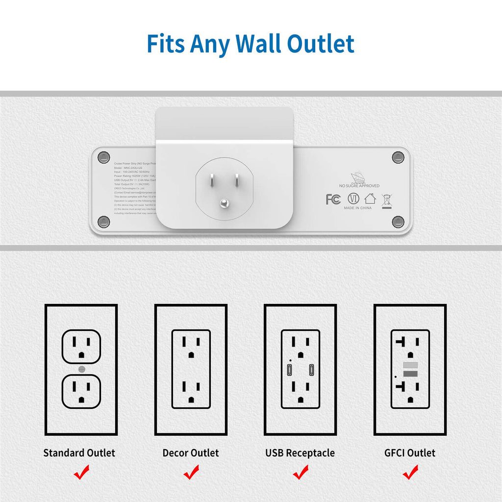Wall Outlet Extender with 2 Outlets 3 USB Ports with Stand | NTONPOWER