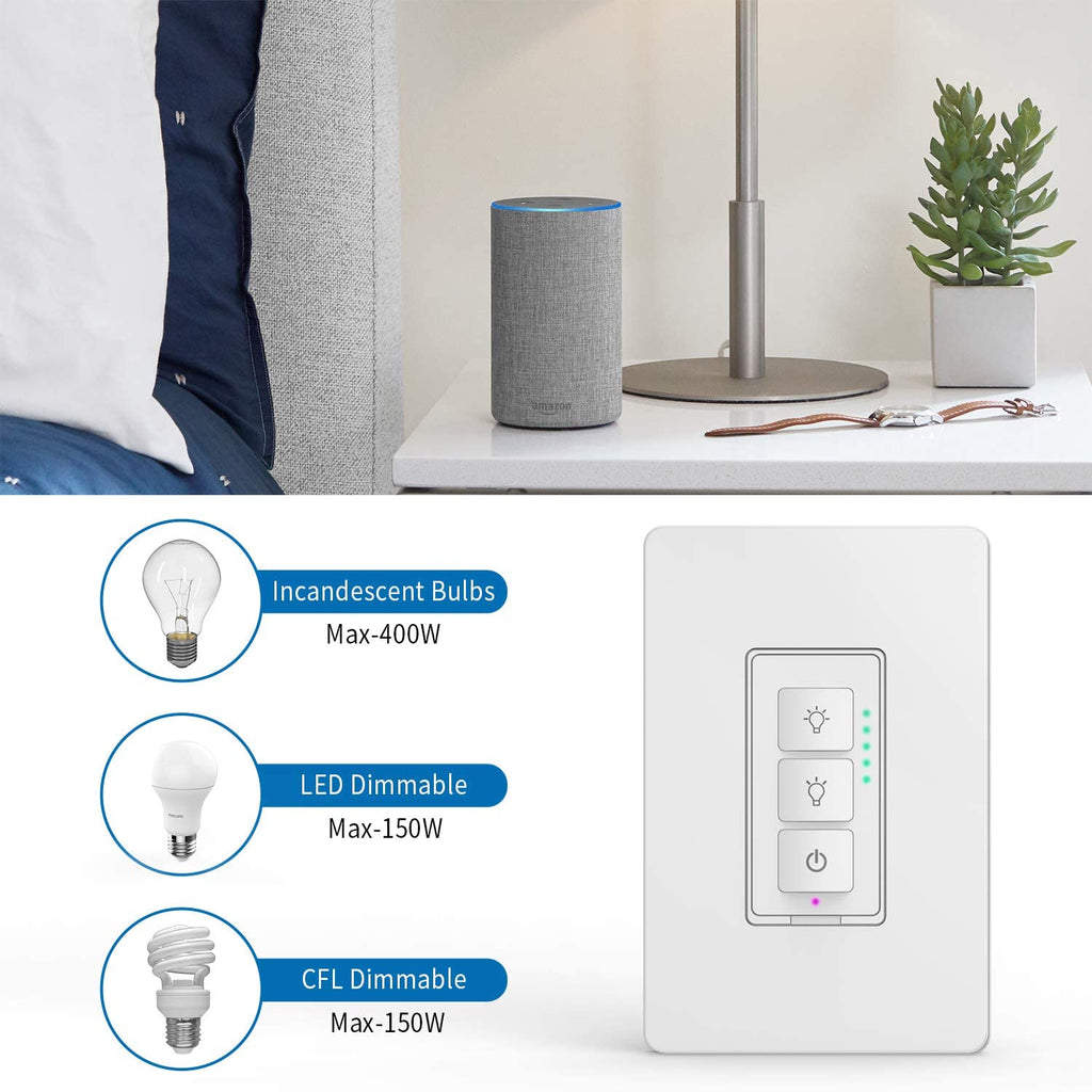 Smart Dimmer Switch For Led Lights Ntonpower 2 4ghz Wifi Light Switch Compatible With Alexa Google Assistant Ifttt Remote Control Schedule Single Pole Neutral Wire Required No Hub Ntonpower Power Strip