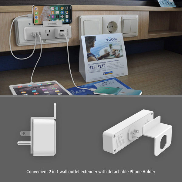 Cruise Power Strip No Surge Protector - NTONPOWER Wall Outlet Extender with 2 Outlets 3 USB Ports, Compact USB Charging Station with Stand, Travel Cruise Ship Accessories Must Have(Wholesale Power Strip)