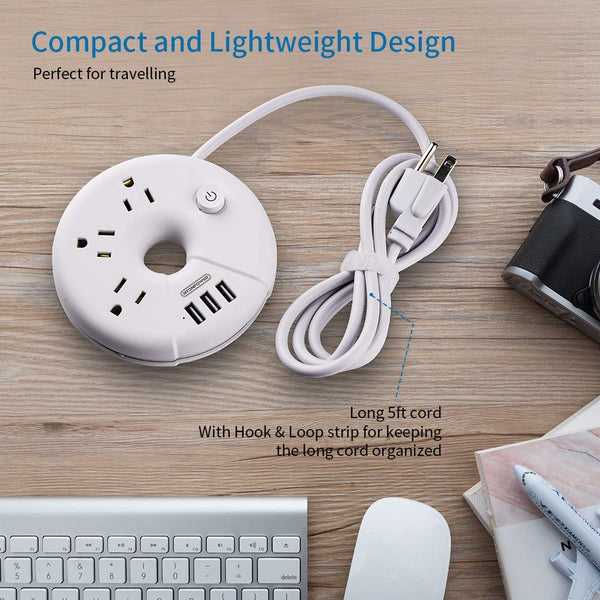 [Buy 2 Get 3 ] Travel Power Strip - NTONPOWER Portable Charging Station 3 USB Without Surge Protector Short Extension Cord (or Long cord) for Home/Office/Cruise Ships/Business Trip/Hotels