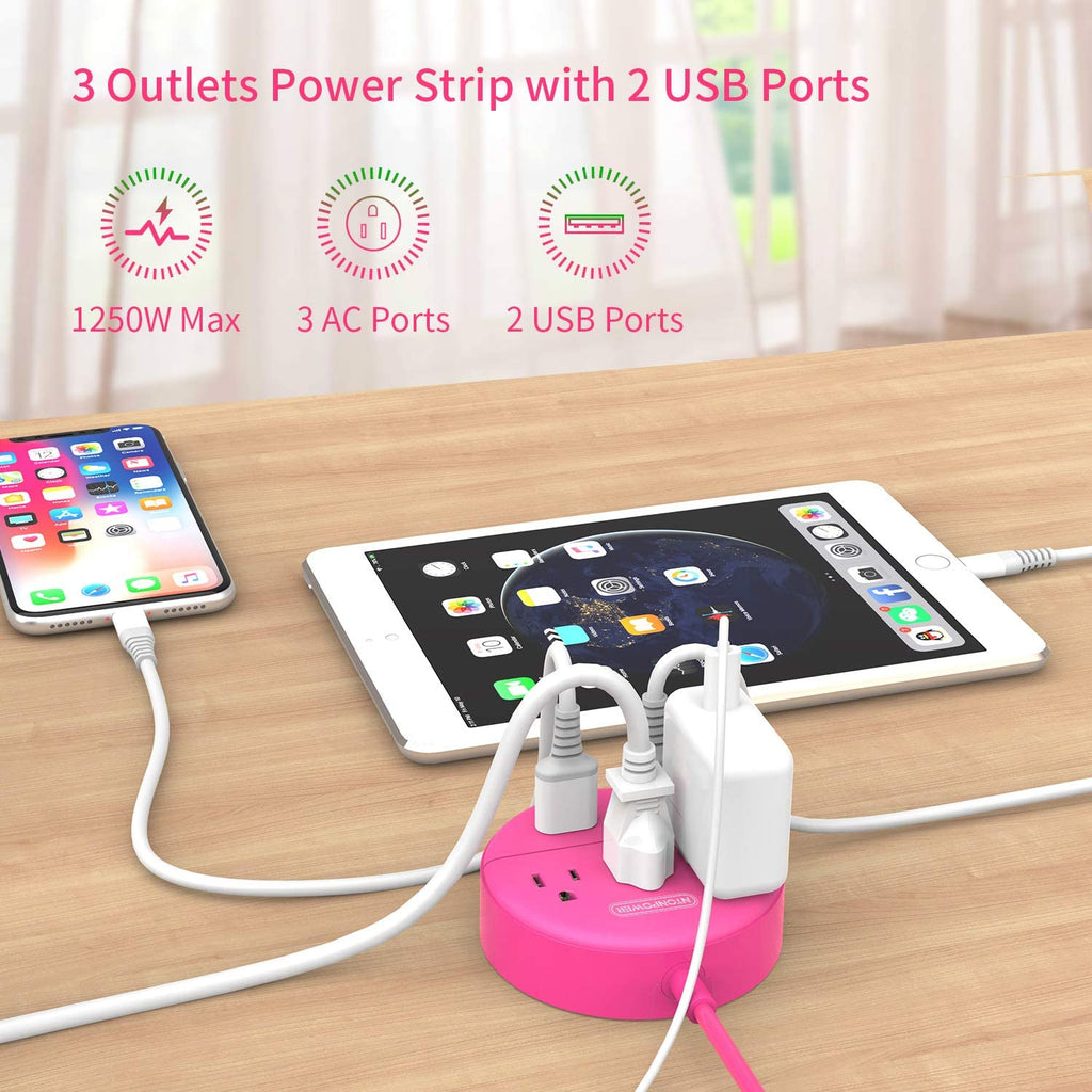 Power Strip with USB  3 Outlets 2 USB